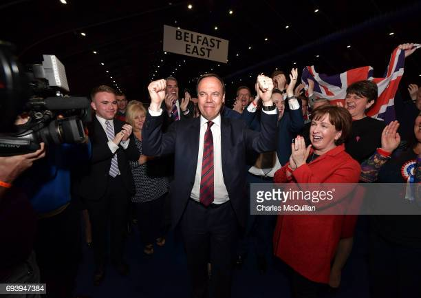 DUP deputy leader Nigel Dodds celebrates after being reelected at the Belfast count centre on June 9 2017 in Belfast Northern Ireland After a snap...