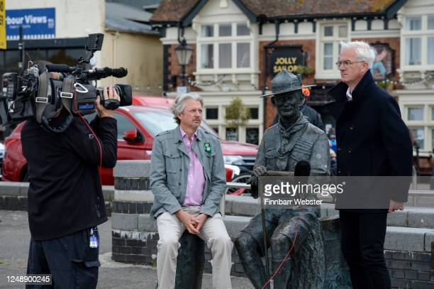 Deputy Leader of Bournemouth Christchurch and Poole Council Mark Howell seated is interviewed at the Lord BadenPowell statue on June 11 2020 in Poole...