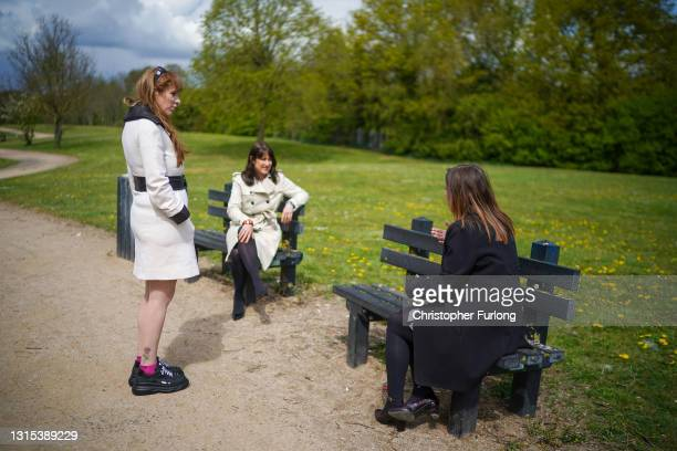 Deputy leader of the Labour Party Angela Rayner and Shadow Minister for the Cabinet Office Rachel Reeves talk to Jane Roche who lost her father and...