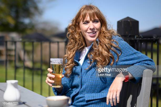 """Deputy Leader of the Labour Party Angela Rayner enjoys a drink in the beer garden at """"The Plume of Feathers"""" pub on April 26, 2021 in Stevenage,..."""