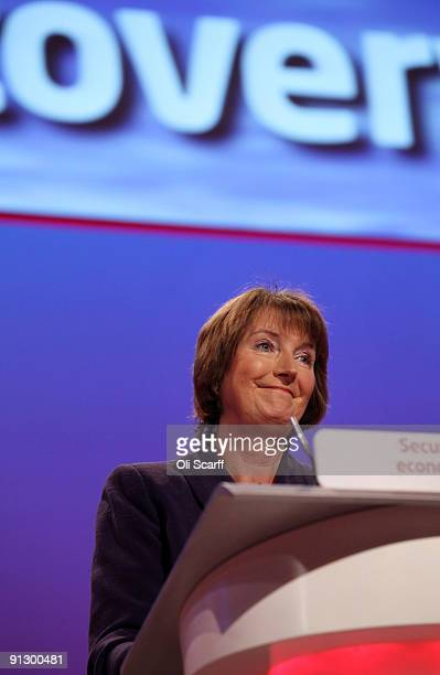 Deputy leader of the Labour party Harriet Harman addresses the crowd at the close of the Labour Party Conference in the Brighton Centre on October 1...