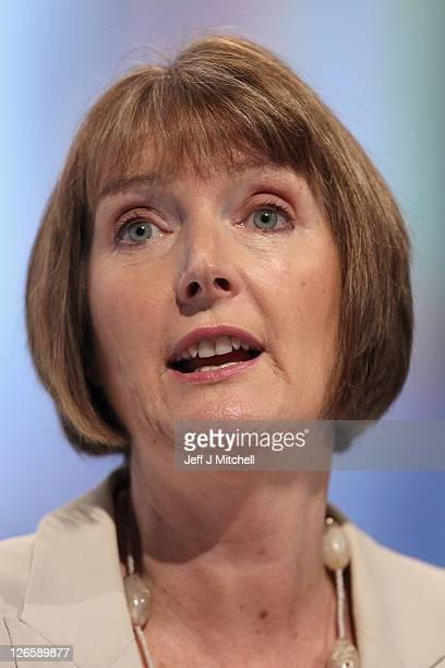 Deputy Leader of the Labour Party Harriet Harman addresses the Labour party conference at the Echo Arena on September 26 2011 in Liverpool England...