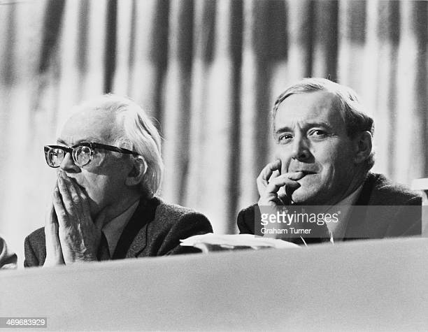 Deputy Leader of the Labour Party Michael Foot with British MP Tony Benn at the Labour Party conference in Blackpool Lancashire 30th September 1980