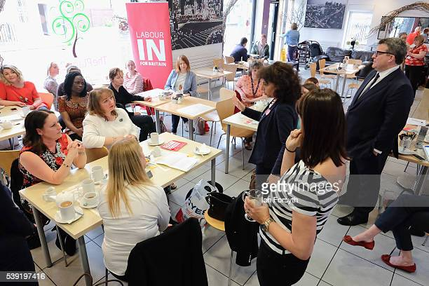 Deputy Leader of the Labour Party Tom Watson and Labour's Shadow Cabinet Minister Gloria de Piero meet with a group of women voters to talk about the...