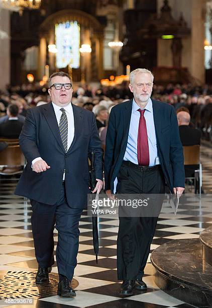 Deputy Leader of the Labour Party Tom Watson and Leader of the Labour Party Jeremy Corbyn leave after the Battle Of Britain 75th Anniversary Service...