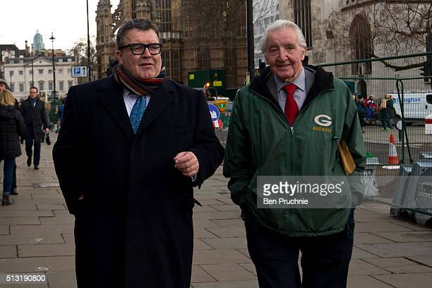 Deputy Leader of the Labour Party Tom Watson and MP Dennis Skinner arrive at The Houses of Parliament on March 1 2016 in London England In a report...