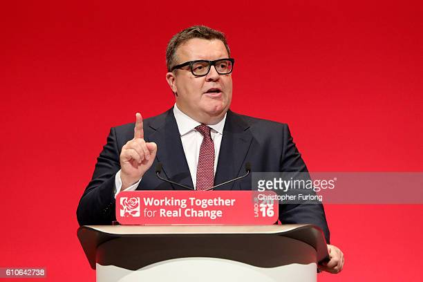 Deputy leader of the Labour party Tom watson delivers his keynote speech to delegates at the ACC on September 27 2016 in Liverpool England On day...