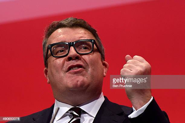 Deputy Leader of the Labour Party Tom Watson delivers the closing speech to delegates on the final day of The Labour Party Autumn Conference on...