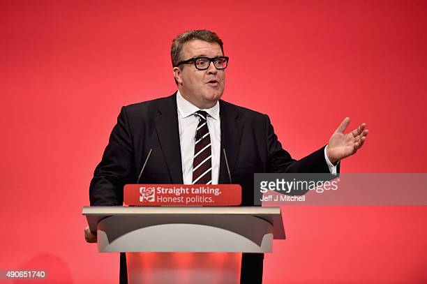 Deputy Leader of the Labour party Tom Watson gives the closing speech on the final day of the Labour Party Autumn Conference on September 30 2015 in...