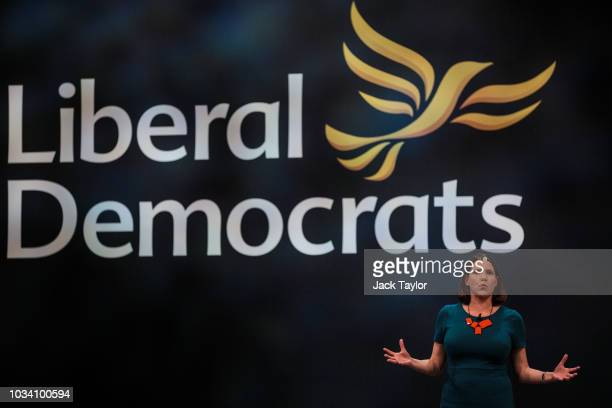 Deputy Leader of the Liberal Democrats Jo Swinson MP makes a speech at the Liberal Democrat Party Conference at the Brighton Centre on September 16...