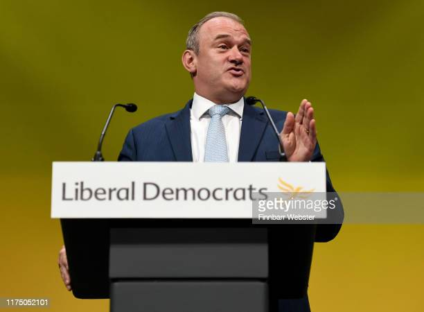 Deputy Leader of the Liberal Democrats Sir Ed Davey speaks at the Liberal Democrat Conference at the Bournemouth International Centre on September 16...