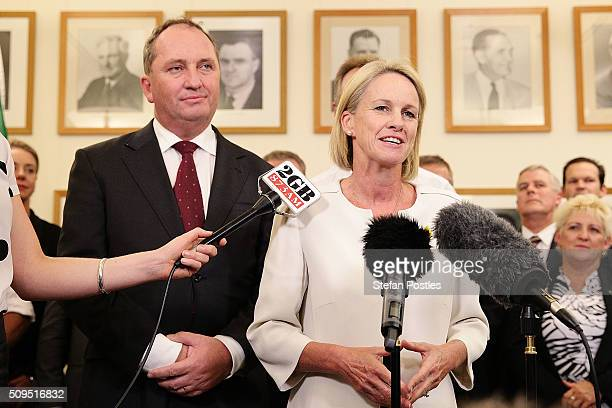 Deputy Leader of the National Party Fiona Nash speaks during a press conference with Leader of the National Party Barnaby Joyce in the National Party...
