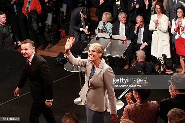 Deputy Leader of the Opposition Tanya Plibersek and Shadow Treasurer Chris Bowen are welcomed on stage during the Australian Labor Party 2016 Federal...