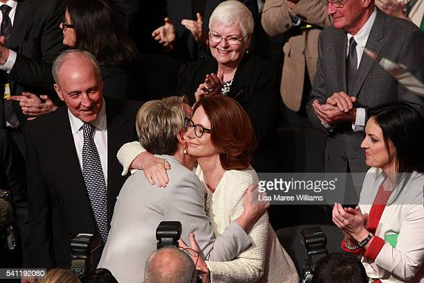 Deputy Leader of the Opposition Tanya Plibersek is welcomed by Julia Gillard during the Australian Labor Party 2016 Federal Campaign Launch at the...