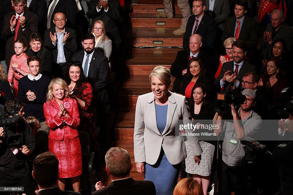 Deputy Leader of the Opposition Tanya Plibersek is welcomed on stage during the Australian Labor Party 2016 Federal Campaign Launch at the Joan Sutherland Performing Arts Centre on June 19, 2016 in Sydney, Australia. Labor leader Bill Shorten has pledged a $257 million jobs plan with tax breaks for businesses who hire mature age workers, people under 25 or mothers returning to work.