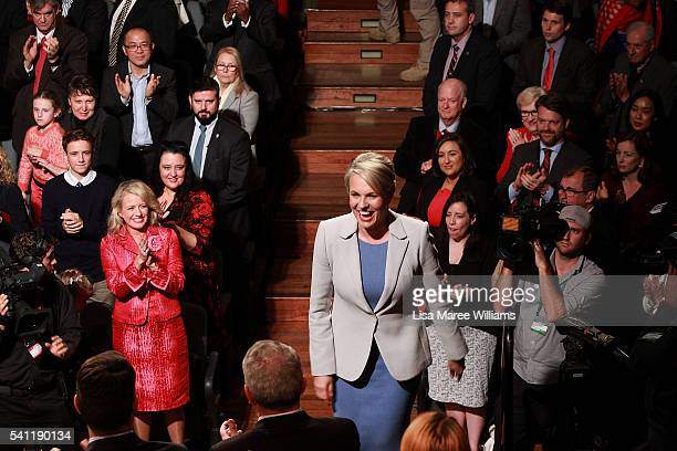 Deputy Leader of the Opposition Tanya Plibersek is welcomed on stage during the Australian Labor Party 2016 Federal Campaign Launch at the Joan...