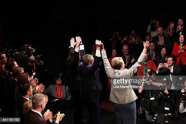 Deputy Leader of the Opposition Tanya Plibersek Leader of the Opposition Bill Shorten and Shadow Treasurer Chris Bowen link arms during the...