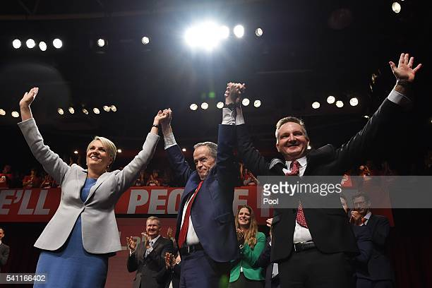 Deputy Leader of the Opposition Tanya Plibersek Leader of the Opposition Bill Shorten and Shadow Treasurer Chris Bowen at the Labor campaign launch...
