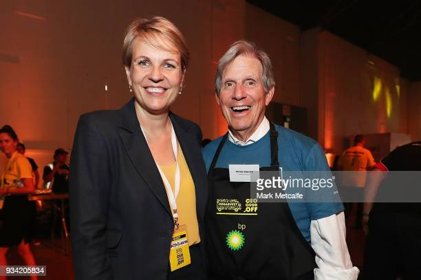 Deputy Leader of the Opposition Tanya Plibersek poses with Bloomberg Global Chairman Peter Grauer during the Oz Harvest CEO Cookoff on March 19 2018...