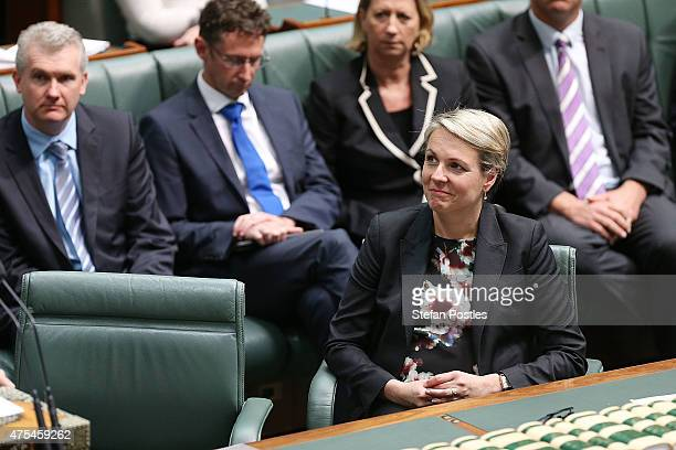 Deputy Leader of the Opposition Tanya Plibersek reacts to Leader of the Opposition Bill Shorten introduce the Marriage Equality Bill to the House of...
