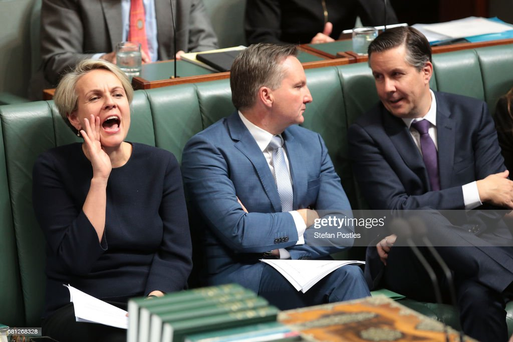 Deputy Leader of the Opposition Tanya Plibersek reacts to Prime Minister Malcolm Turnbull during question time at Parliament House on May 10, 2017 in Canberra, Australia. The Turnbull Government's second budget has delivered additional funds to education, a plan to assist first home buyers, along with a crackdown on welfare.