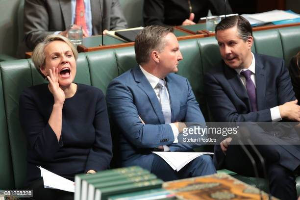Deputy Leader of the Opposition Tanya Plibersek reacts to Prime Minister Malcolm Turnbull during question time at Parliament House on May 10 2017 in...