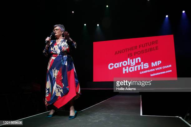 Deputy Leader of Welsh Labour and Shadow Minister for Women Equalities and Home Affairs Carolyn Harris speaks at a leadership campaign rally for...