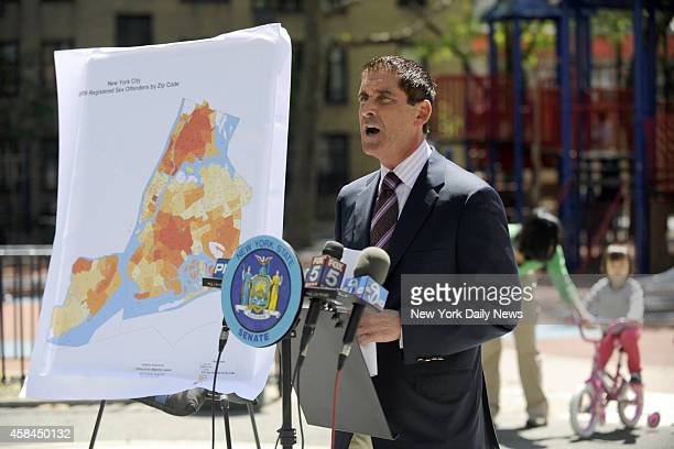 Deputy Majority Leader State Senator Jeff Klein holding a press conference at the Samuel Seaberry Playground regarding emails to alert to parents of...