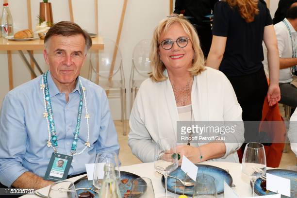 Deputy managing director management production and means of France Televisions Christian Vion and Journalist Catherine Matausch attend the 'France...