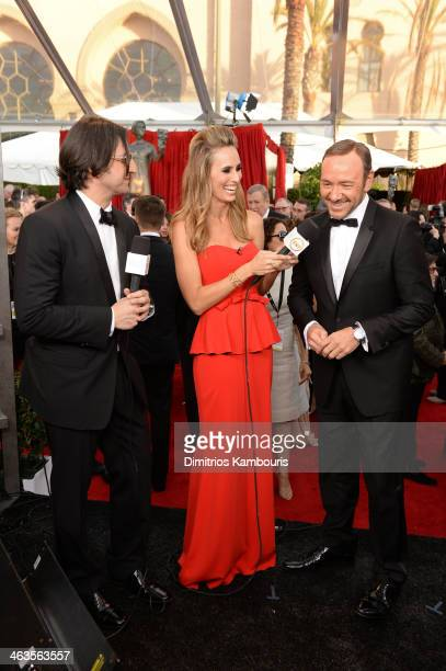 PEOPLE Deputy Managing Editor Peter Castro TV personality Danielle Demski and actor Kevin Spacey attend 20th Annual Screen Actors Guild Awards at The...