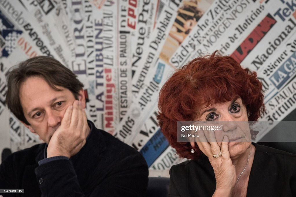 """Deputy Mayor and Councillor for Cultural Growth Luca Bergamo , with the Minister of Education Valeria Fedeli during the Press conference to the foreign press, On the occasion of the 50th anniversary of 1968, Agi Agenzia Italia has reconstructed the historical archive of that year, recovering the heritage of all the historical Italian and international agencies, organizing a photographic and multimedia exhibition that will be set up at the Museum of Rome in Trastevere from May 5 to September 2, 2018. It's called """"Dreamers. 1968: as we were, as we will be. on April 16, 2018 in Rome, Italy"""