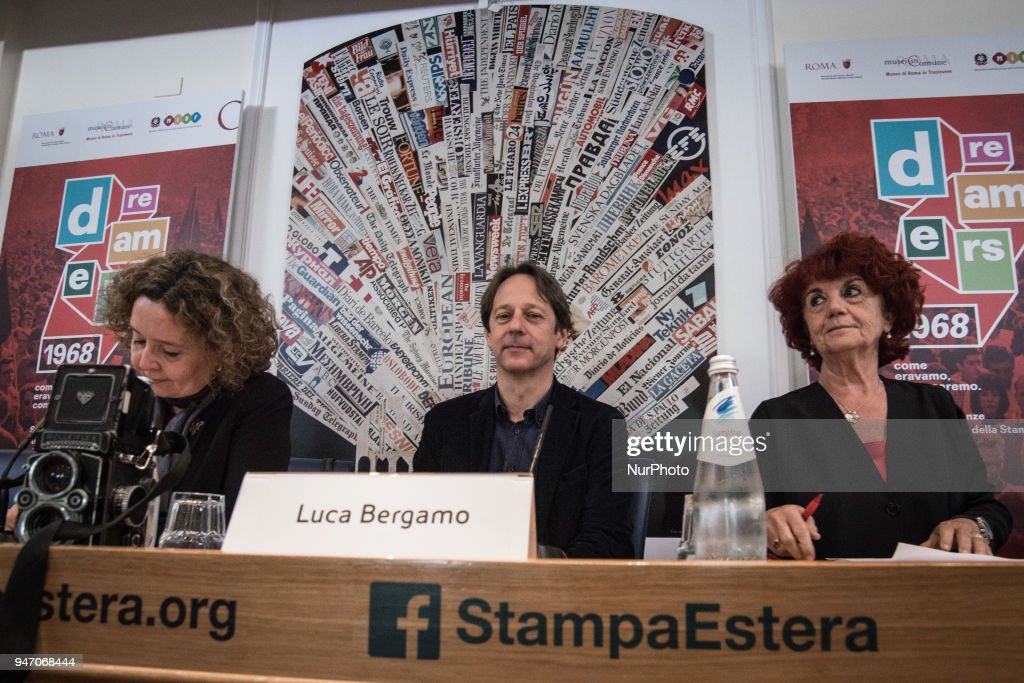 """Deputy Mayor and Councillor for Cultural Growth Luca Bergamo, with the Minister of Education Valeria Fedeli, Councillor for Person, School and Community Solidarity Laura Baldassarre during the Press conference to the foreign press, On the occasion of the 50th anniversary of 1968, Agi Agenzia Italia has reconstructed the historical archive of that year, recovering the heritage of all the historical Italian and international agencies, organizing a photographic and multimedia exhibition that will be set up at the Museum of Rome in Trastevere from May 5 to September 2, 2018. It's called """"Dreamers. 1968: as we were, as we will be. on April 16, 2018 in Rome, Italy"""
