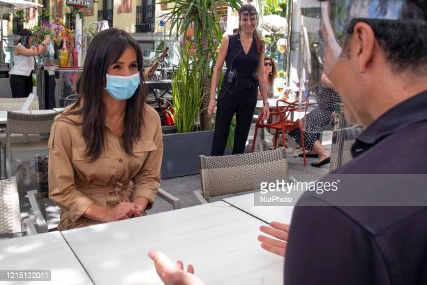 Deputy Mayor Begoña Villacís attends the reopening of a bar with a terrace in Plaza de la Independencia on the first day of phase 1 of the covid19 in...