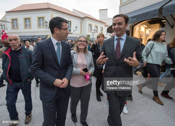 Deputy Mayor of Loule Pedro Pinpao walks the premises with IKEA Assets Manager Vasco Santos during the Designer Outlet Algarve Grand Opening on...