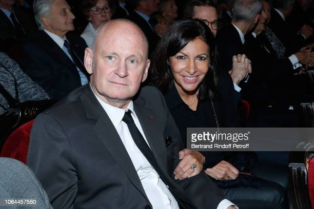 Deputy Mayor of Paris for culture Christophe Girard and Mayor of Paris Anne Hidalgo attend the Reopening of The Marigny Theater with the with the...