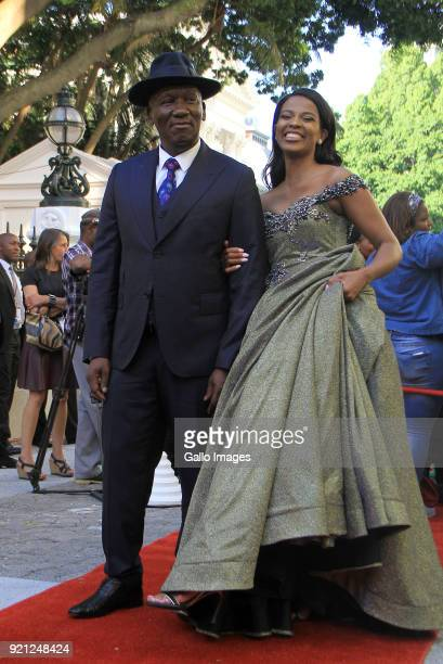 Deputy Minister of Agriculture Forestry and Fisheries Bheki Cele and his wife Thembeka Ngcobo arrive at the State of the Nation Address 2018 in...