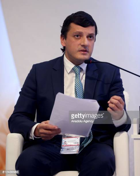 Deputy Minister of Energy of the Russian Federation Anton Inyutsin speaks during the 22nd World Petroleum Congress in Istanbul Turkey on July 11 2017