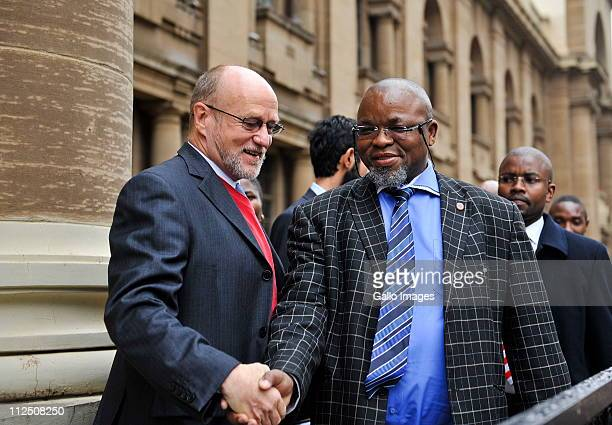 Deputy Minister of Science and Technology Derek Hanekom and ANC Secretary General Gwede Mantashe outside the Johannesburg High Court on April 18 2011...