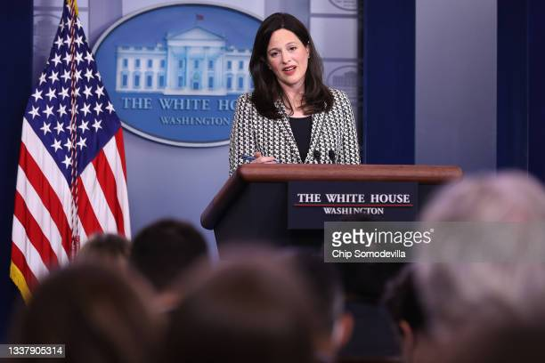 Deputy National Security Advisor for Cyber and Emerging Technology Anne Neuberger answers reporters' questions during the daily news conference in...