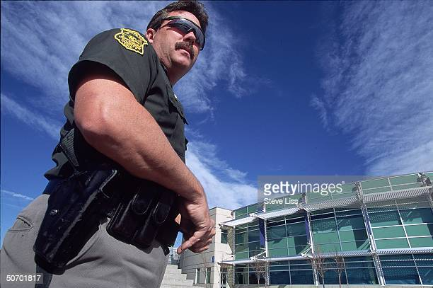 Deputy Neil Gardner outside Columbine High School police officer assigned to school on day of April assault by student gunmen Eric Harris Dylan...