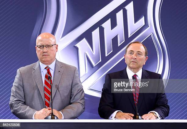Deputy NHL Commissioner Bill Daly and commissioner Gary Bettman address the media during the Board Of Governors Press Conference prior to the 2016...