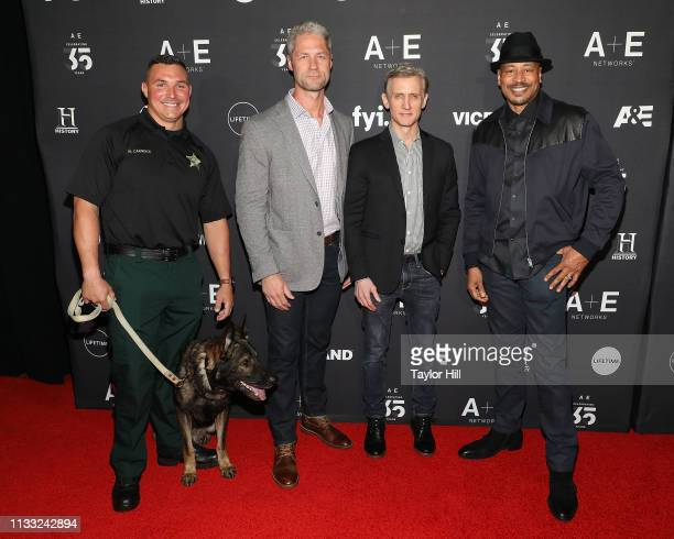 Deputy Nick Carmack Shep Sgt Sean Larkin Dan Abrams and Tom Morris Jr of AE's Live PD attend the 2019 AE Networks Upfront at Jazz at Lincoln Center...