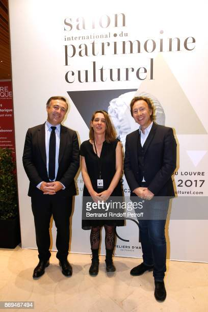 Deputy of Herault Philippe Huppe President of Ateliers d'Art de France Aude Tahon and Stephane Bern attend the Official Visit of Stephane Bern at the...