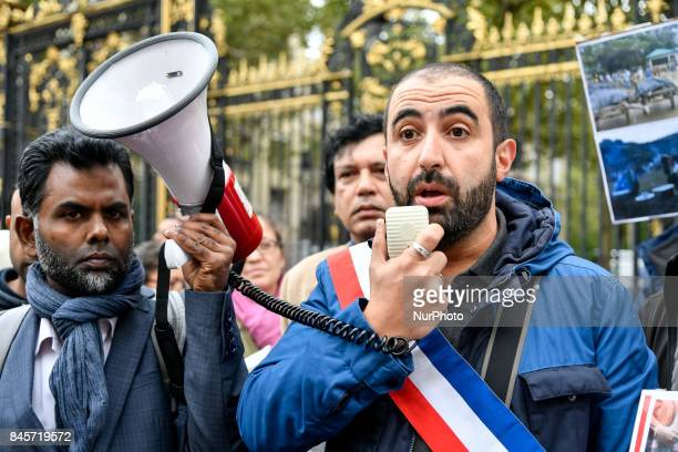 Deputy of Seine St Denis Madjid Messaoudene during a demonstration in support of Rohingyas community in Paris France on September 11 2017 against the...