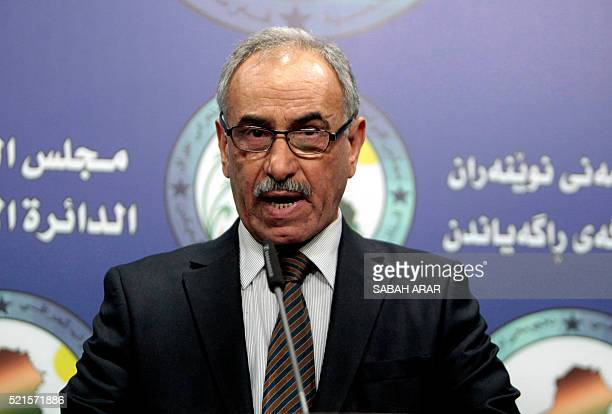 Deputy of the Iraqi parliaments security and defence committee Hamid AlMutlaq speaks during a press conference on the parliament's political turmoil...