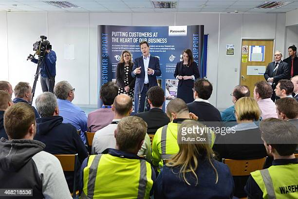 Deputy PM and Liberal Democrat Party leader Nick Clegg takes part in a QA session with staff at Cardiff Panasonic manufacturing plant on March 31...