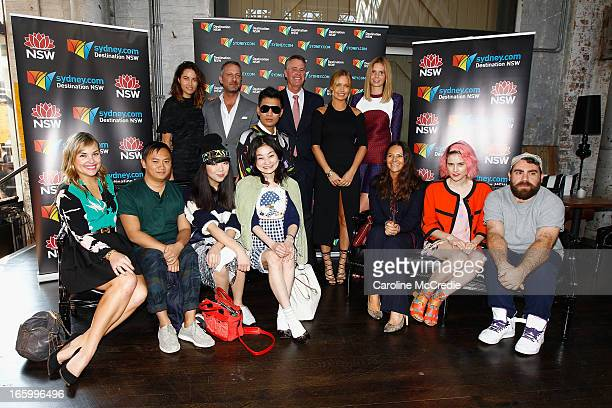 Deputy Premier Andrew Stoner poses with fashion designers and bloggers the Official Welcome of MercedesBenz Fashion Week Australia Spring/Summer...