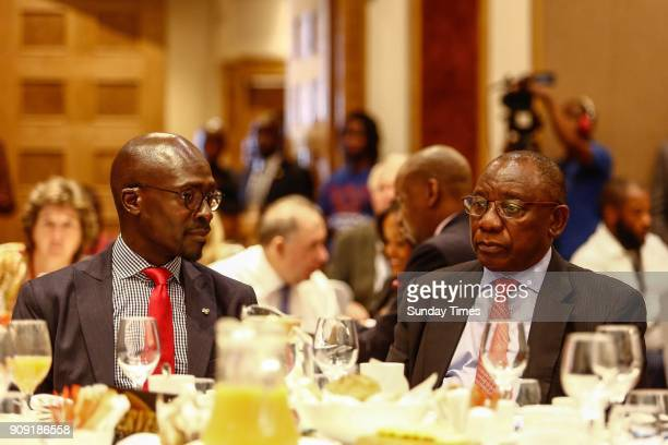 Deputy President Cyril Ramaphosa and Finance Minister Malusi Gigaba during a preWorld Economic Forum breakfast briefing on January 18 2018 in...