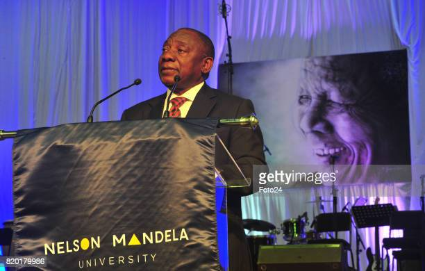 Deputy President Cyril Ramaphosa delivers a keynote address during the official renaming ceremony of the Nelson Mandela University at the Missionvale...