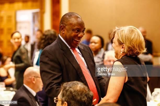 Deputy President Cyril Ramaphosa during a preWorld Economic Forum breakfast briefing on January 18 2018 in Johannesburg South Africa Ramaphosa who...